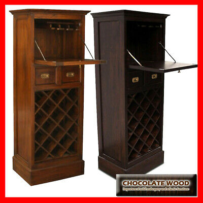 NEW OLGAS SOLID Mahogany 1 Door & 2 Drawers Wine Rack