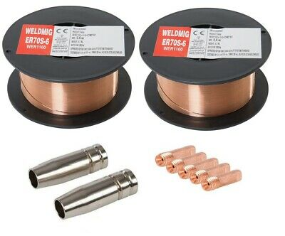 2 x Mild Steel MIG Welding Wire - 0.8mm 0.7kg Reel - (inc. M6 Tips And Shrouds)