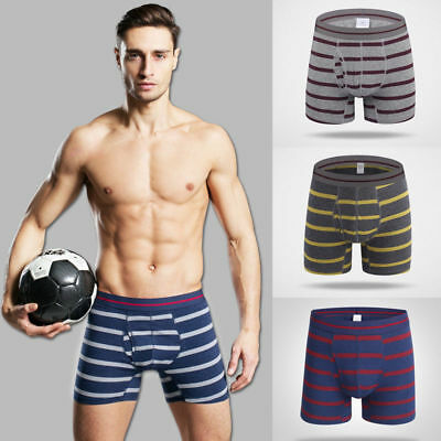 Men's Stripe Sports Long Boxer Trunks Underwear Shorts Bulge Pouch U Convex