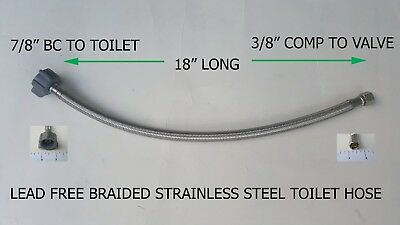 "20) 18"" Long 3/8"" Comp X 7/8"" Bc Lead Free Braided Stainless Steel Toilet Hose"