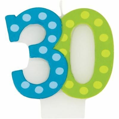 Bright & Bold 30th Birthday Candle Party Decoration