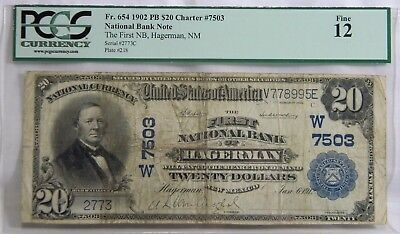 1902 Pb**$20 Ch #7503**fnb, Hagerman, Nm**pcgs: Fine 12**only 6 Reported**dooo