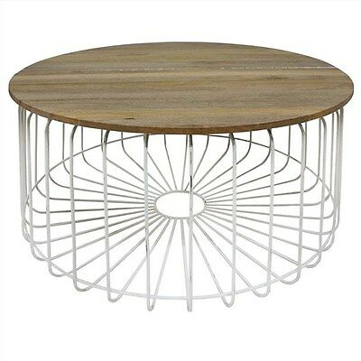 Arrell Solid Mango Wood Timber & Metal Round Coffee Table - White - 80Cms.