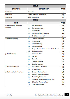 H1 Leaving Certificate Chemistry Notes