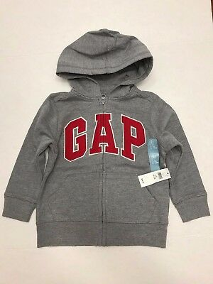 NWT Gap Toddler Boy Gap Arch Logo Zip Up Hoodie Size 4