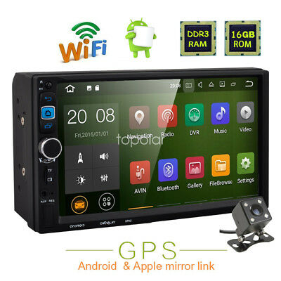 "7"" Quad Core Android WIFI Double 2DIN Car Radio Stereo GPS SAT Nav MP5 Bluetooth"
