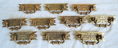 Eastlake Victorian Brass/Bronze Drawer Pulls Set of 10 Unused Old Vtg Antique