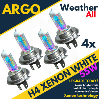 4x All Weather Xenon White H4 55/60w Halogen Bulbs 6000k (Pair) 472