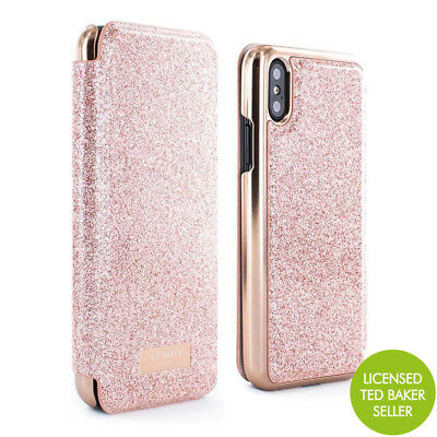 d61d134ba OFFICIAL Ted Baker PERI Mirror Folio Case Pink Glitter iPhone X   XS Rose  Gold
