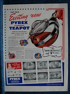1941 Pyrex Ovenware Flameware  7 Items Shown Corning Glass Works Ad ~ Corning NY