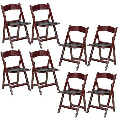 8 Mahogany Folding Resin Chair Waterproof Vinyl Padded Seat Wedding Party Chairs