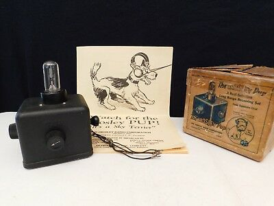 VINTAGE 1920s CROSLEY PUP & BOX ANTIQUE RADIO RECEIVER BEAUTIFUL MUSEUM QUALITY