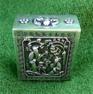 Beautiful Little Relief Decorated Oriental Silver Box From An Estate Clearance