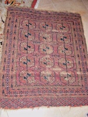 """ANTIQUE Persian RUG Hand Knotted Carpet worn AS IS distressed 45"""" x 36"""" rusts"""
