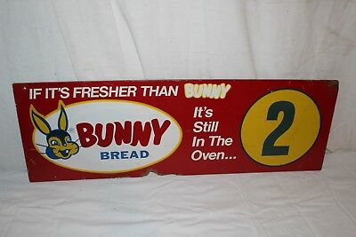 "Vintage 1950's Bunny Bread Grocey Store Aisle Gas Oil 2 Sided 30"" Sign"