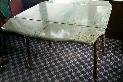 Vintage Porcelain Enamel Top Table, Swirl design / coloring