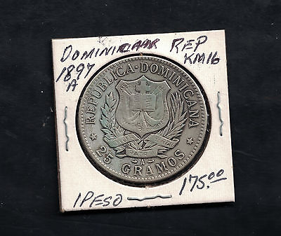 1897 A Dominican Republic1 Peso Coin # KM 16