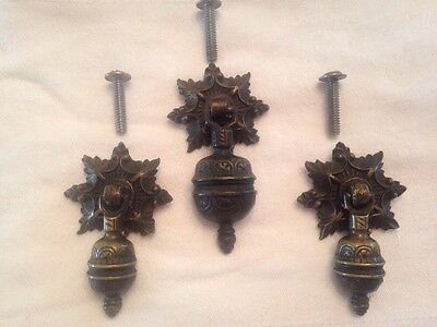 3 Ornate Solid Brass Drop Type Drawer Pulls Hardware