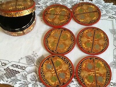 £ Antique Set Of 6 Round Oriental Coasters In Box