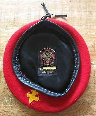 Vintage Boy Scouts of America Small 6 5/8 - 6 3/4 Red Wool Beret Hat EUC