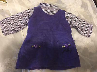 """Amazing Ally Purple Jumper Striped Shirt fits 18"""" American Doll GUC Free Gift"""