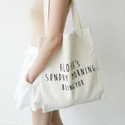 Handmade letter Heavy Duty Cotton Canvas Tote Eco Reusable Shoulder Shopping Bag