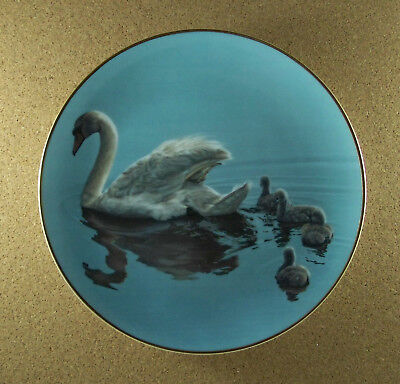 Winged Reflections FOLLOWING MAMA Plate Ron Parker Hamilton Collection Swans