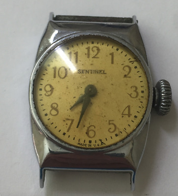 Vintage Sentinel Dollar Watch Art Deco Parts/Repair USA Made Chrome Case