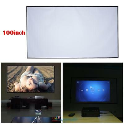 "100"" 16:9 Fabric Matte Projector Projection Screen Suspension HD Cinema Theater"