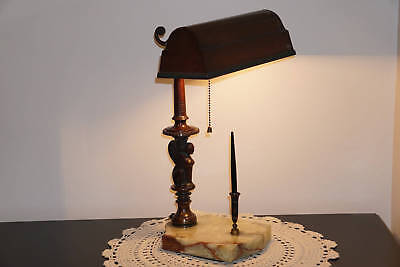 Rare Original Antique Vintage 1917 Amronlite Griffon Desk Library Lamp Onyx