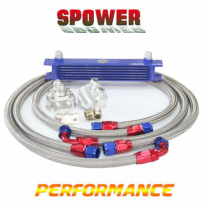 7 Row AN10 Engine Oil Cooler Blue + 3/4*16 & M20 Filter Relocation Adapter Kit