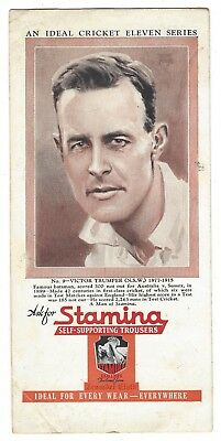 OLD BLOTTER Stamina Trousers 1930's Ideal Cricket Eleven Series Victor Trumper