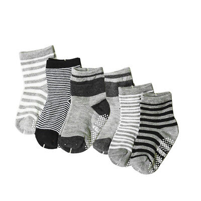 6 Pairs Assorted Non Skid Ankle Socks Anti Slip Stripes Star For baby 0-3Y