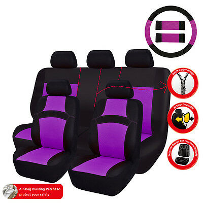 Universal Fit Truck SUV Car Seat Covers Purple For Women Steering Wheel Cover