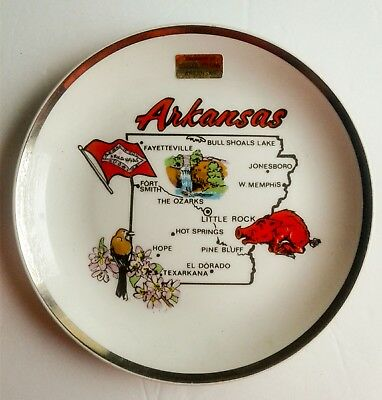 Arkansas State 7 1/4 Inch Decorative Collector Plate With Gold Trim