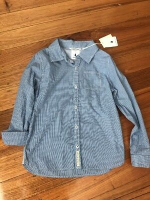 New Boys Country Road Long Sleeve Blue & White Check Shirt. Size 10