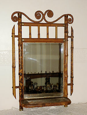 Antique Bamboo Bevel Glass Mirror with Shelf c1900's