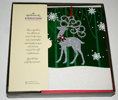 Hallmark Reindeer Ornament Signature Collection 8 Christmas Cards New MIB box