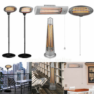 Outdoor Garden Wall Mounted Electric Patio Heater Heat Setting BBQ Free Standing