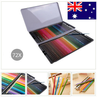 Watercolour pencils 72X Water Color Soluble Non-toxic Art Drawing&Painting AU
