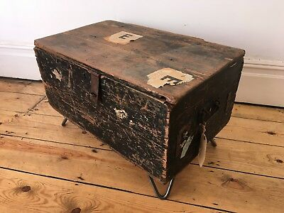 Antique Small Travel Trunk on Hairpin Legs Coffee Table Worn Vintage Lovely