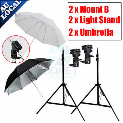 Photography Photo Studio Flash Light Umbrella Reflector Bracket Mount Stand Kit
