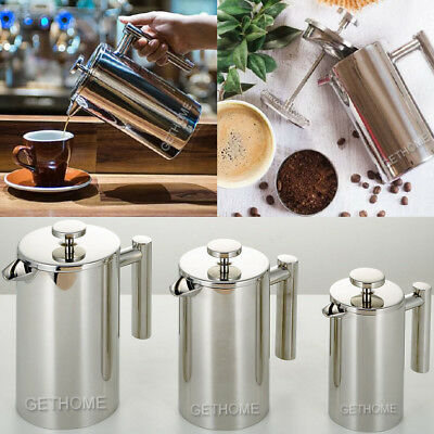 350/800/1000ml Stainless Steel Double Wall Cafetiere Filter Coffee Maker Plunger