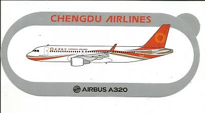 AIRBUS STICKER AUTOCOLLANT A320 Sharklets CHENGDU AIRLINES - NEUF