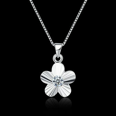 Fashion Chain 925 Sterling Silver Zircon Flower Pendant Necklace Women's Jewery