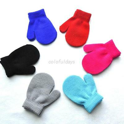 Toddler Boys Girls Winter Warm Soft Gloves Candy Colors Mittens Knitting Gloves