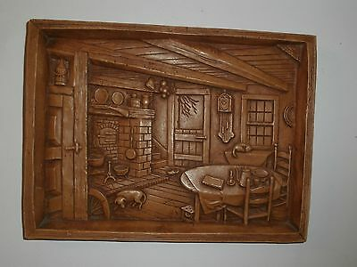 Vtg Rare 3-D Carved Rural Canadiana Home Interior Scene Imitation Wood Picture
