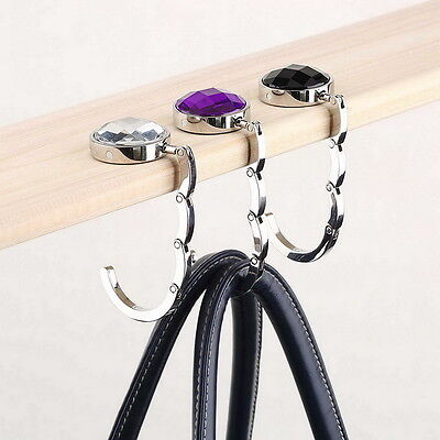 Portable Foldable Folding Crystal Alloy Purse Handbag Hook Hanger Bag Holder