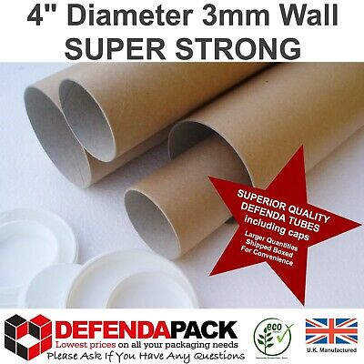 """10 x 26"""" x 4"""" SUPER STRONG 3mm WALL WIDE DIAMETER Postal Tubes Postage Poster"""