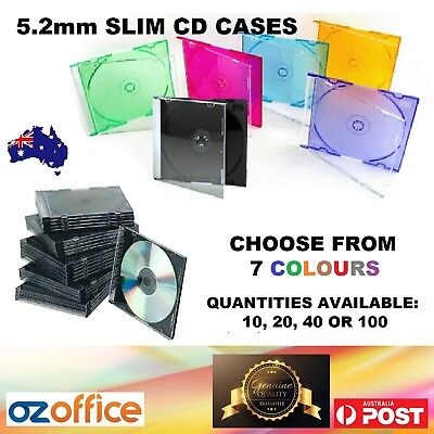 5.2mm Slim CD Jewel Cases Slimline CD Case Single Disc BLACK and MIXED COLOURS